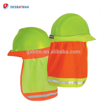 Hi-Vis Lime Polyester Mesh Hard Hat Neck Shade , Helmet Sun Shield With Reflective Stripe High Visibility Safety
