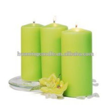 Huaming decorated candles in different color /Wholesale White Pillar Candles /white pillar church candles