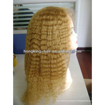 светлый блондин человеческих волос полный парик шнурка для женщин