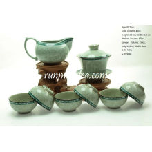 Tang Cao(Tang Dynasty Flower Design) Teaware Sets- 1 Gaiwan, 1Pitcher & 6 Cups