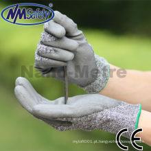 NMSAFETY pu coated cut 4 luvas de segurança industrial