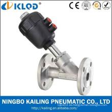 Válvula de ángulo de brida actuador de plástico, cuerpo de acero inoxidable, estándar DIN / ISO / JIS / GB, CE / ISO (DN15, KLJZF-15F)