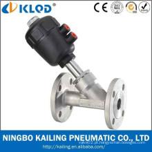 Válvula de ângulo flangeado do atuador plástico, corpo de aço inoxidável, padrão de DIN / ISO / JIS / GB, CE / ISO suportado (DN15, KLJZF-15F)