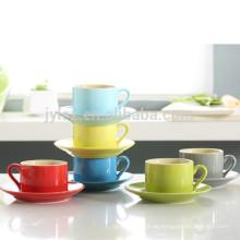 Taza y plato de cerámica coloridos del gres 280cc