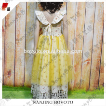 floral printed yellow tulle girls lace dress