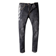 Hot-sell Men's Black Printed Jeans