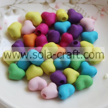 7.5*10*11MM Random Frosted Matte Colors Acrylic Heart Charm Beads Purchase