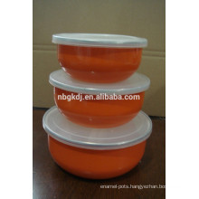 3 sets orange decals enamel ice bowl & enamels cookware with PE lid