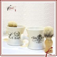 White Glaze Decal Manípulos cerâmicos escova de barbear