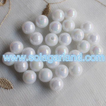 6-30MM Acrylic Round Imitation Pearl White Beads Charms AB Style