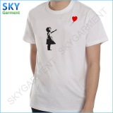 Light Weight 160GSM Round Neck Short Sleeve Polyester White Tee Shirts