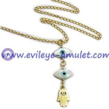 Mother Of Pearl Evil Eye Hamsa Hand Necklace Gold Plating