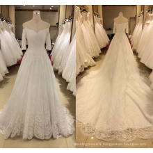 2017 3/4 Sleeve Lace Wedding Dress (Cathedral Train)