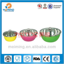 multi color 6pcs stainless steel mixing bowl set