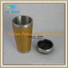 Tasse en bambou de 400ml en acier inoxydable