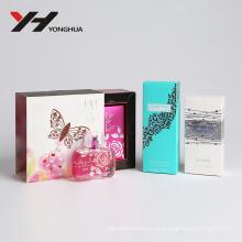 Estampagem de prata personalizada com diamantes azuis Embalagem de perfume caixa de papel branco
