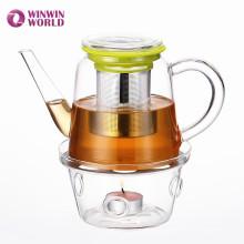 Pot de thé en verre moderne transparent de cadeau promotionnel de Pyrex avec l'infuseur
