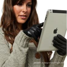 Moda lã vestido forrado iphone telas luvas de couro