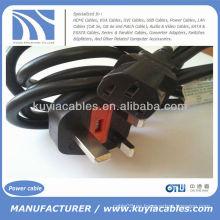 UK Hot Sell Cable de cable de alimentación de electrónica SP-62 para PC 13A a 10A 250V ~ IEC S3 RVV