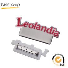 Épinglette d'insigne de nom en métal de vente chaude avec Doming époxyde