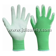 Green Nylon Work Glove with PU Palm Coated (PN8004G)