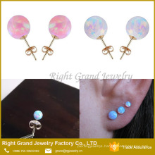 Factory Price Pink Opal Rough Ball Post Earrings Trendy Opal Earring Stud Jewelry