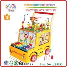 Большой круглый бусины многофункциональный прицеп деревянные детские ходунки игрушки