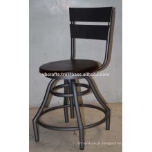 Tamborete industrial vintage tabuleiro giratório mesa de madeira mango assento redondo