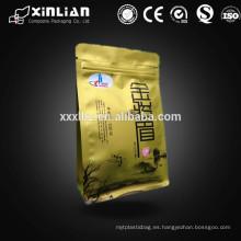 Bolso caliente de la parte inferior del cuadrado de la venta de Alibaba para el empaquetado del té con el lacre lateral del lado ocho