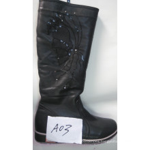 Ladies Fashion Knee-High Flat Boots with Glitler (S 20)