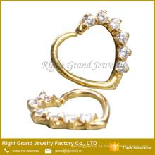 16G Cubic Zirconia Ear Daith Jewelry Chapado en oro Prong Set CZ Cartilage Helix Cuff Earring