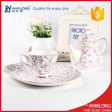 Einzigartiges koreanisches Porzellan-Kaffeetee-Set / glückliches rosafarbenes Porzellan-Teekanne-Satzpreis