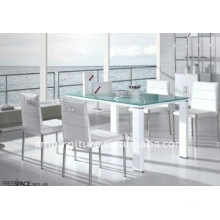 high gloss glass white dining table