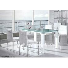 mesa de jantar branca de vidro de alto brilho