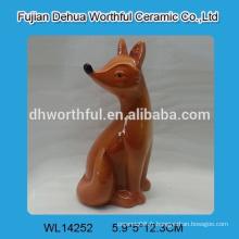 Figurine de renard en céramique marron pour décoration de maison