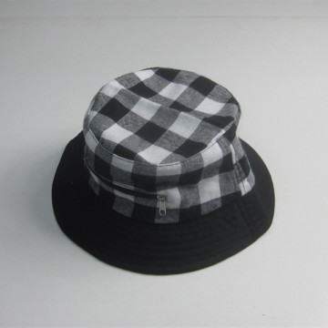 Men Fashion Plaid Bucket Hat With Pocket