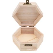 mini coffret à bijoux en bois non fini art au bois hexagonal