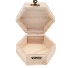 unfinished mini wooden jewelry box case woodworking art hexagonal