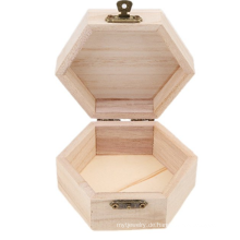 unvollendete Mini Holz Schmuckschatulle Fall Holzverarbeitung Kunst sechseckig