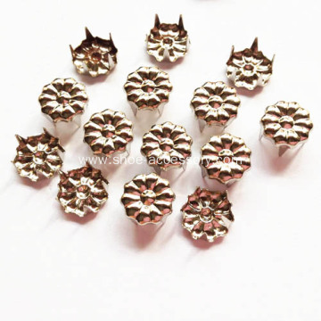9mm Nickle Flower Studs with 5 Prongs