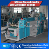 LLDPE 500mm single layer auto loading cast stretch PE film extruder machine