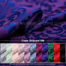 22 mm Crepe jacquard de seda con muerte reactiva para bufanda de seda