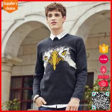 Jerseys pesados del suéter del knit de los nuevos del estilo de los hombres largos del estilo del telar jacquar de la nueva
