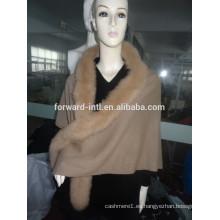 El mejor diseño de las mujeres cachemira zorro abrigo de piel capucha cabo