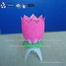 Bougie de musique rose de lotus de joyeux anniversaire de prix usine