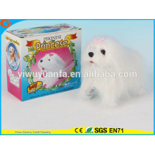Novelty Design Kids' Toy Colorful Walking Electric Skip Stuffed White Dog