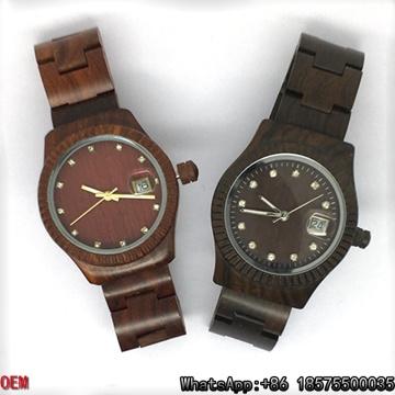 Relojes de cuarzo de alta calidad Maple / Red / Ebony-Wooden Hl12