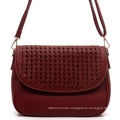 High End New Design Handmade Weaving Ladies PU Leather Handbag