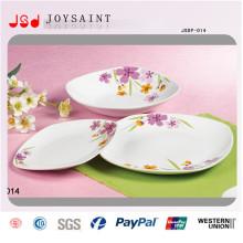 Ensemble de dîner carré simple de conception de fleurs en porcelaine pour usage domestique