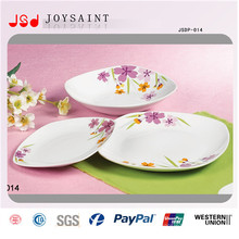 Simple Flower Design Square Dinner Set in Porcelain for Home Use